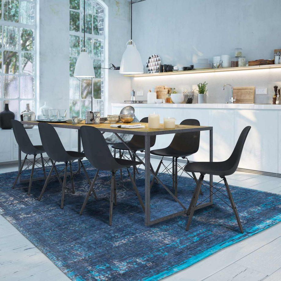 tapis Louis De Poortere CA 8254 Fading World Medaillon Blue Night interior