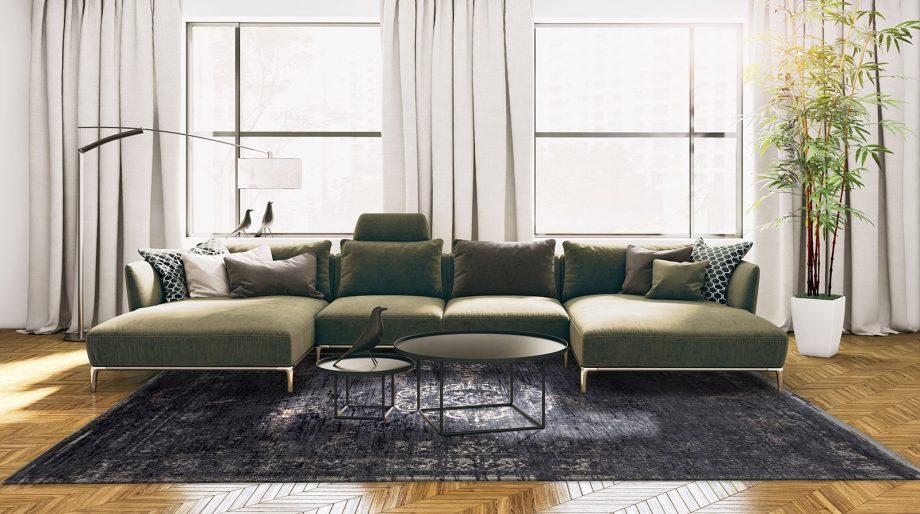 tapis Louis De Poortere CA 8263 Fading World Medaillon Mineral Black interior